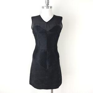 Milly S 6 Black Silk panel Dress Illusion Neck LBD